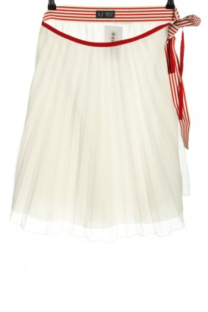 Armani Jeans Pleated Skirt white-red striped pattern casual look