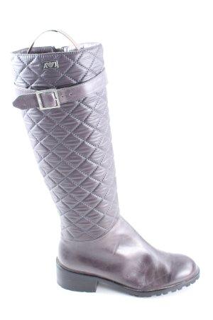 Armani Jeans Reißverschluss-Stiefeletten lila Steppmuster Business-Look
