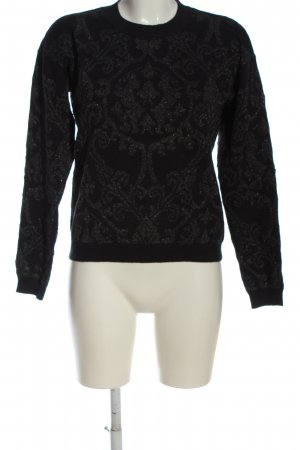 Armani Jeans Kraagloze sweater zwart-lichtgrijs volledige print
