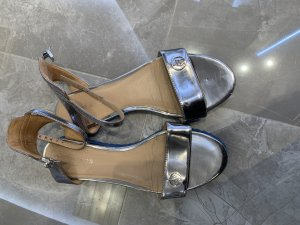 Armani Jeans Strapped Sandals grey-silver-colored