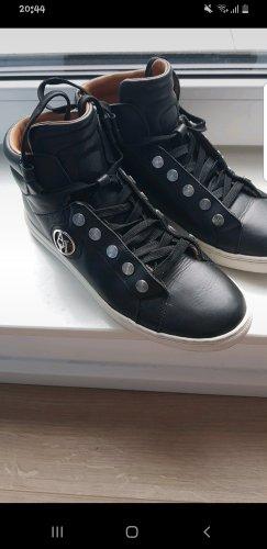 Armani Jeans Chaussures à lacets noir-argenté