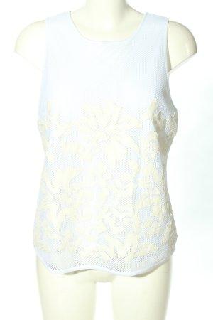 Armani Jeans Spitzentop weiß-creme Allover-Druck Casual-Look