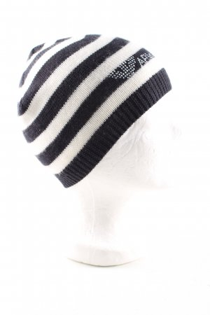 Armani Jeans Knitted Hat black-white striped pattern casual look