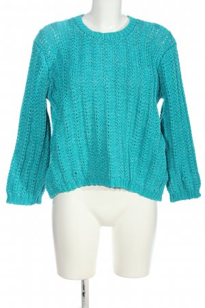 Armani Jeans Strickpullover türkis Zopfmuster Casual-Look