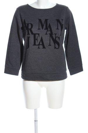 Armani Jeans Sweatshirt gris clair-noir moucheté style décontracté