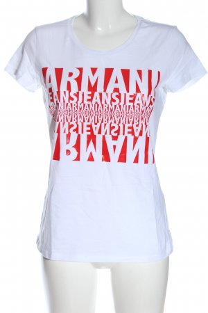 Armani Jeans T-shirt wit-rood gedrukte letters casual uitstraling