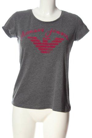 Armani Jeans T-Shirt hellgrau-pink Schriftzug gedruckt Casual-Look