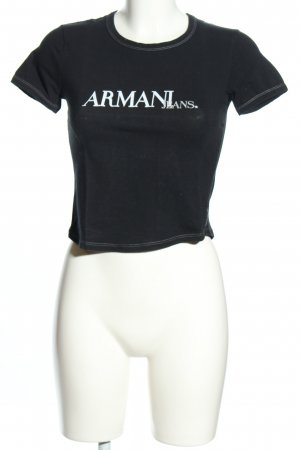 Armani Jeans T-Shirt black-white printed lettering casual look