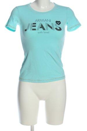 Armani Jeans T-shirt turquoise-noir lettrage imprimé style décontracté