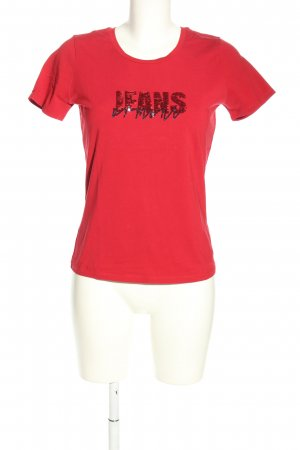 Armani Jeans T-Shirt rot-schwarz Motivdruck Casual-Look