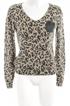 Armani Jeans V-Ausschnitt-Pullover wollweiß-schwarz Leomuster Casual-Look