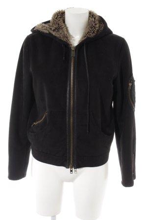 Armani Jeans Winterjacke schwarz-goldfarben Casual-Look