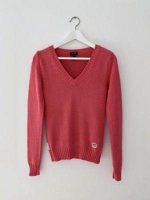 Armani Sweter z dekoltem w kształcie litery V malina Bawełna
