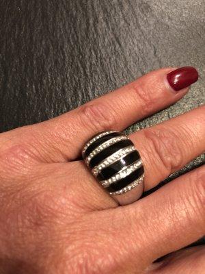 Armani Zilveren ring zilver-zwart