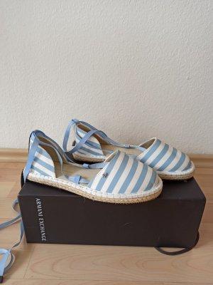 Armani Exchange Espadrille sandalen wit-lichtblauw