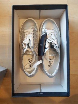 Armani Lace-Up Sneaker white-silver-colored