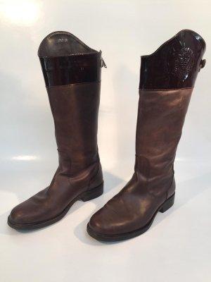 Armani Jackboots dark brown leather