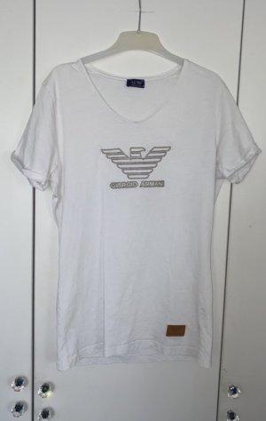 Armani Jeans T-shirt blanc-argenté