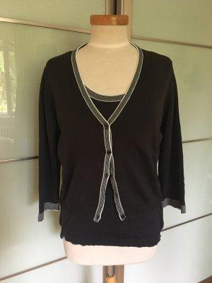 Emporio Armani V-Neck Sweater white-black