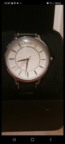 Armani Exchange Horloge met lederen riempje zwart-zilver