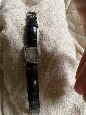 Armani Montre avec bracelet en cuir noir cuir