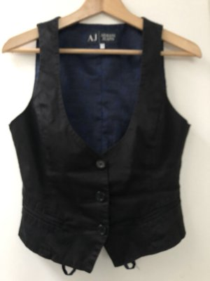 Armani Jeans Chaleco de motorista negro-azul Algodón