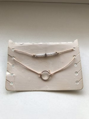 H&M Armband stoffig roze-zilver