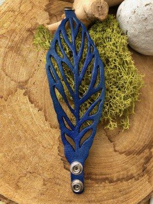 Handmade Brazalete de cuero azul-color plata Cuero