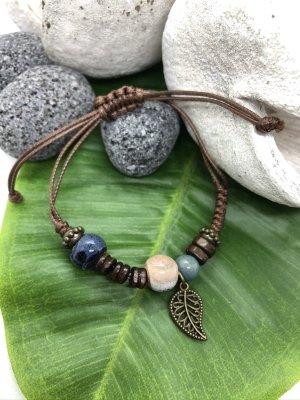 Armband 3 Keramikperlen dunkelblau nude kadettblau Anhänger Blatt