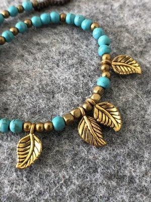 Handmade Braccialetto sottile oro-turchese