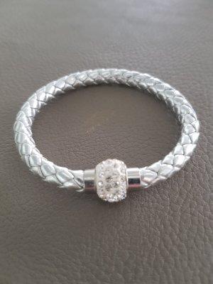 Lederen armband zilver