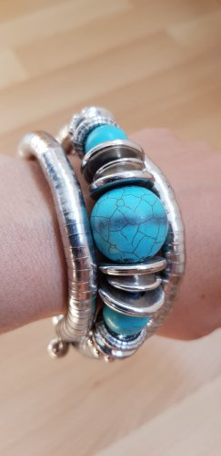 Bracelet argenté-turquoise