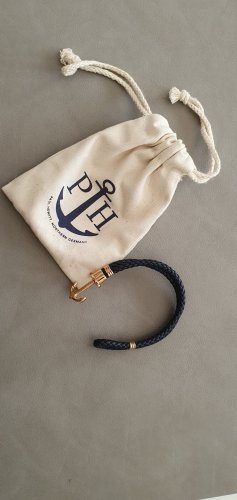 Paul Hewitt Bracelet en cuir or rose-bleu foncé