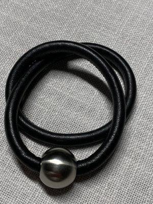 XENOX Bracelet en cuir noir-argenté cuir