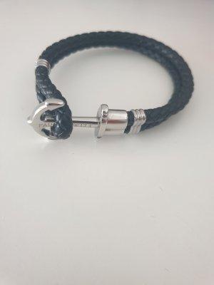 Paul Hewitt Bracelet en cuir noir-argenté