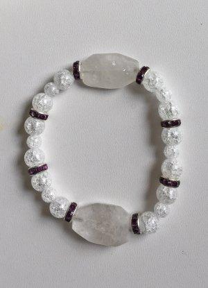 Armband aus Bergkristall mit Strassrondellen, ca. 20 cm lang