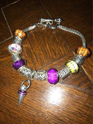 Armband , aus Großlochperlen , in lila und Silbertönen