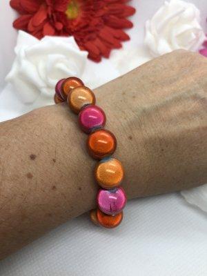 Armband met parels rood-donker oranje