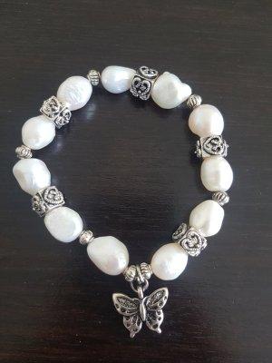 Armband met parels wit-zilver
