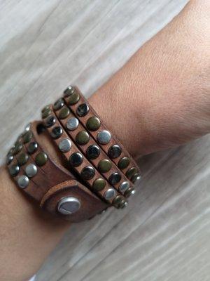 Liebeskind Bracelet en cuir brun-brun foncé