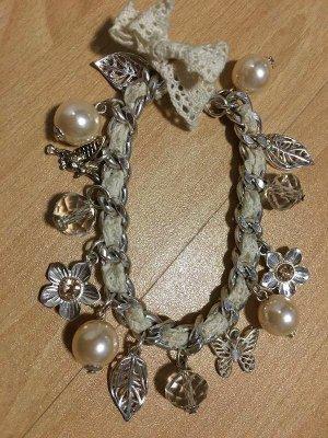 Armband Bettelarmband Silber Pfirsich mit Charms Perlen Blume Blatt Schleife Vogel Schmetterling