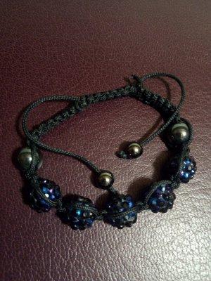 Bracelet blue-black glas