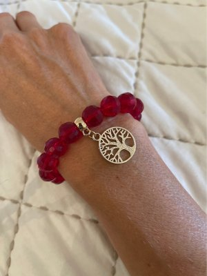 Bracelet rouge foncé-argenté