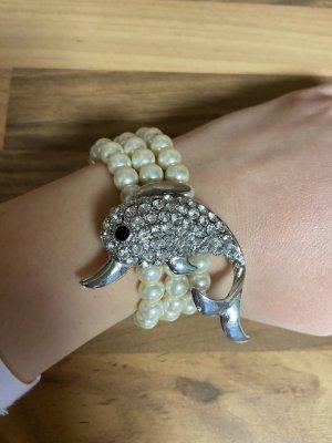 Bracelet en perles beige clair-blanc