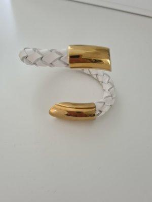 Skórzane ozdoby na ręce  biały-złoto