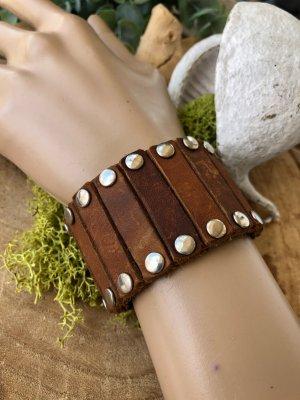 Handmade Bracelet en cuir cognac-argenté cuir