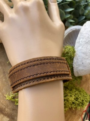 Handmade Bracelet en cuir marron clair-argenté cuir