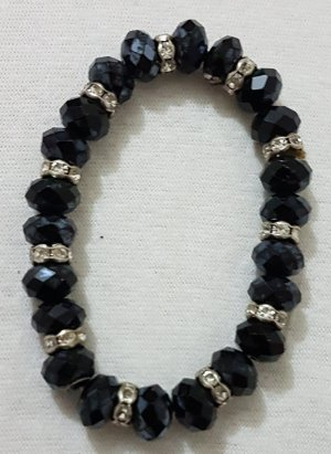 Vintage Brazalete de perlas negro-color plata