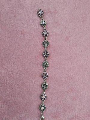 Brazalete de perlas color plata-color rosa dorado