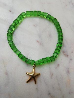 Armband Glas Perlen grün Würfel Seestern Metall gold